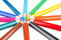 Colored pencils in a circle Royalty Free Stock Photos