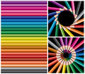 Colored pencils, collage Royalty Free Stock Photos
