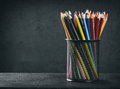 Colored pencils in a cup Royalty Free Stock Photo
