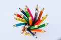 Colored pencils group of multi Royalty Free Stock Photos
