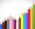 Colored pencils growing business graph Royalty Free Stock Photos