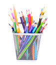 Colored pencils in holder isolated on white background r Stock Image