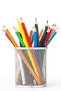 Colored pencils in a holder many before white background Stock Photos