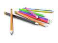 Colored pencils isolated render on a white background Royalty Free Stock Image