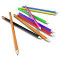 Colored pencils isolated render on a white background Stock Photos