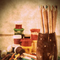 Colored pencils paint drawing brush and other tools for arts Stock Photography