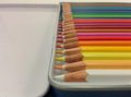 Colored pencils palette of colors box Royalty Free Stock Photo