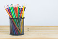 Colored pencils in a pencil case on white background Royalty Free Stock Photo