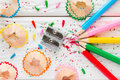 Colored pencils and pencil sharpener Royalty Free Stock Photo