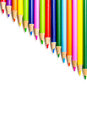 Colored pencils in rows art school isolated on white background diagonal pattern design Royalty Free Stock Photography
