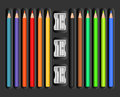 Colored pencils set with sharpeners illustration Royalty Free Stock Image