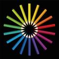 Colored Pencils Sun Flower Star Black Royalty Free Stock Photo
