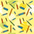 Colored pencils on a yellow background. Seamless T Royalty Free Stock Photos