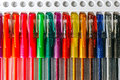 Colored pens set of multicolored placed on a stand Royalty Free Stock Image
