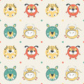 Colored pets pattern with cat dog mouse and cow vector illustration Royalty Free Stock Photography
