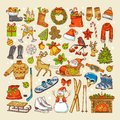 Colored pictures of christmas toys and specific objects of winter season