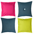Colored pillows on white background four isolated Stock Images