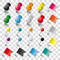 Colored Pins Flags and Tacks Set Transparent Royalty Free Stock Photo