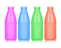 Colored plastic bottles isolated on white background Royalty Free Stock Photo