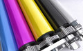 Colored printers rolls coloured stainless steel printing Royalty Free Stock Photos