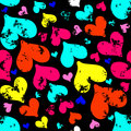 Colored psychedelic hearts on Valentine's Day seamless pattern Royalty Free Stock Photo