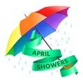Colored realistic umbrella. Open umbrella in rainbow colors