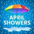 Colored realistic umbrella. Open umbrella in rainbow colors Royalty Free Stock Photo