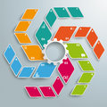 Colored Rhombus Fan White Gear 6 Options ABC PiAd Royalty Free Stock Photo