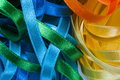 Colored ribbons abstract picture of sewing Stock Photos