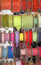 colored ribbons and decorative rolls for sale per meter in the w Royalty Free Stock Photo