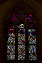 The colored rose window in the church in santa chiara naples Royalty Free Stock Photography