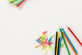 Colored school objects with white background Royalty Free Stock Photo