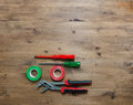 Colored screwdrivers  duct tape and pliers Royalty Free Stock Photo