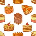 Colored Seamless Pattern with Cakes and Pastries in Hand-Drawn Style