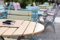 Colored seats and tables Royalty Free Stock Photo