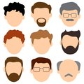 Colored set of avatars, faces of men. Young and old. Vector illustration