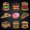 Colored set of chalk drawn 9 different fast food icons on black chalkboard: donut, pizza, burgers, tacos, sandwich.