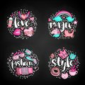 Colored Set of teenage girl icon concept, cute cartoon teen objects, fun stickers design vector with lettering love