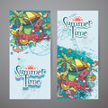 A colored set of vertical banners with summer doodles