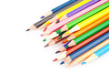 Colored sharp pencils on white background Stock Images