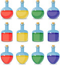 Colored small bottles Royalty Free Stock Photo