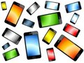 Colored Smart Phones Background Stock Photo