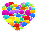 Colored speech bubbles heart shape vector illustration Royalty Free Stock Images