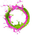 Colored splashes abstract shape isolated white background Royalty Free Stock Images