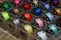 Colored spools of threads Royalty Free Stock Photo