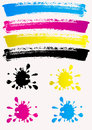 Colored spots cmyk bright colors Royalty Free Stock Photos
