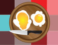 Colored squares dark and fried eggs Royalty Free Stock Photography