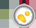 Colored squares  with fried eggs Royalty Free Stock Photos