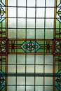 Colored stained glass window, Amsterdam, The Netherlands, October 13, 2017