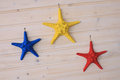 Colored starfish hanging on the wall Stock Image